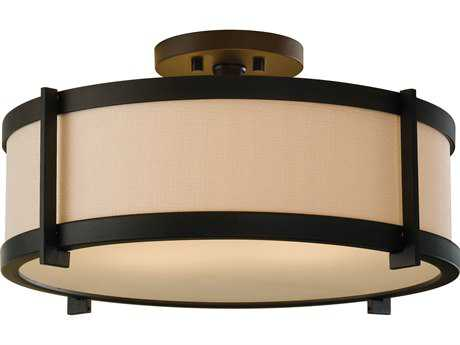 Feiss Stelle Oil Rubbed Bronze Two-Light 16'' Wide Semi-Flush Mount with Cream Color Linen Fabric Shade