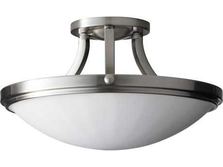 Feiss Perry Brushed Steel Two-Light 15.63'' Wide Semi-Flush Mount with White Opal Etched Glass Shade