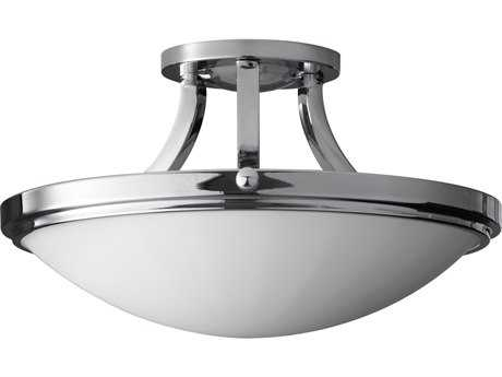 Feiss Perry Chrome Two-Light 15.63'' Wide Semi-Flush Mount with White Opal Etched Glass Shade
