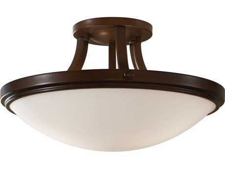 Feiss Perry Heritage Bronze Two-Light 15.5'' Wide Semi-Flush Mount with White Opal Etched Glass Shade
