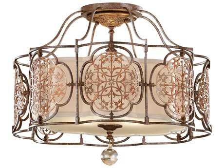 Feiss Marcella British Bronze / Oxidized Bronze Three-Light 21.25'' Wide Semi-Flush Mount with Beige Hardback with Fabric Shade