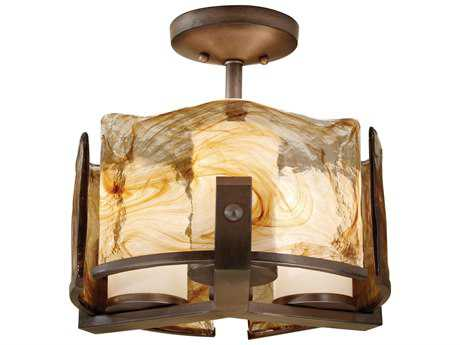 Feiss Aris Roman Bronze Three-Light 15'' Wide Semi-Flush Mount with Opal Etched Glass Shade