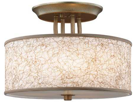 Feiss Parchment Park Burnished Silver Three-Light 13.75'' Wide Semi-Flush Mount with Glass Diffuser Shade