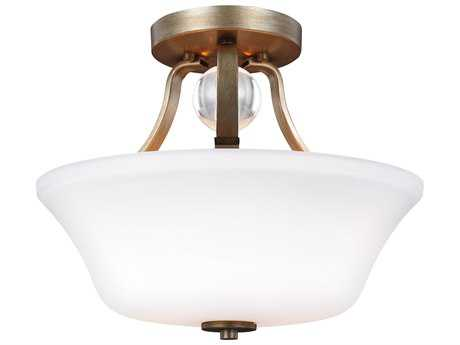 Feiss Evington Sunset Gold Two-Light 14'' Wide Semi-Flush Mount with Etched Glass Painted White Inside Glass Shade