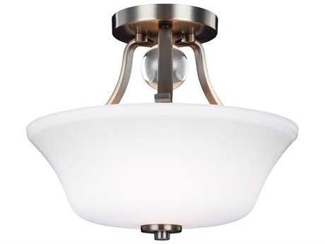 Feiss Evington Satin Nickel Two-Light 14'' Wide Semi-Flush Mount with Etched Glass Painted White Inside Glass Shade