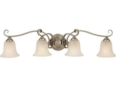 Feiss Vista Brushed Steel Four-Light 35.25'' Wide Vanity Light with White Alabaster Glass Shade