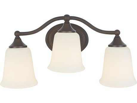 Feiss Claridge Oil Rubbed Bronze Three-Light 18'' Wide Vanity Light with White Opal Acid Etched Glass Shade