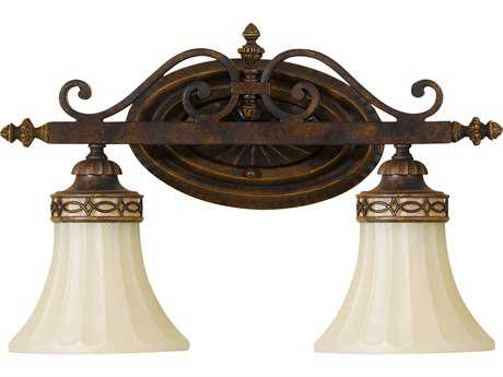 Feiss Drawing Room Walnut Two-Light 16'' Wide Vanity Light with Amber Snow Scavo Glass Shade