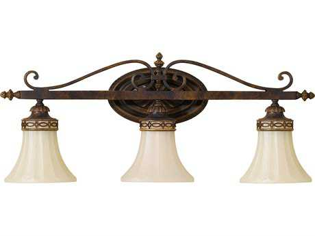 Feiss Drawing Room Walnut Three-Light 26'' Wide Vanity Light with Amber Snow Scavo Glass Shade