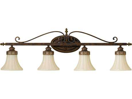 Feiss Drawing Room Walnut Four-Light 36.25'' Wide Vanity Light with Amber Snow Scavo Glass Shade