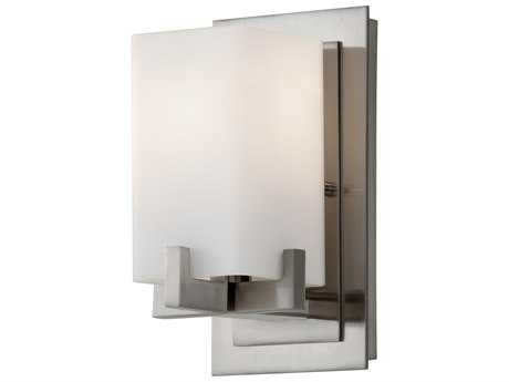 Feiss Riva Brushed Steel 5'' Wide Vanity Light with Opal Etched Glass Shade