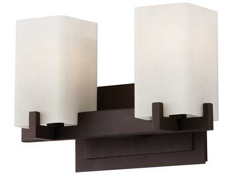 Feiss Riva Oil Rubbed Bronze Two-Light 13'' Wide Vanity Light with Cream Etched Glass Shade