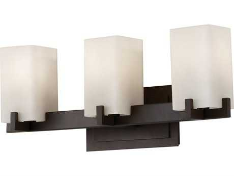 Feiss Riva Oil Rubbed Bronze Three-Light 21.5'' Wide Vanity Light with Cream Etched Glass Shade