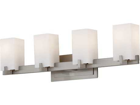 Feiss Riva Brushed Steel Four-Light 30'' Wide Vanity Light with Opal Etched Glass Shade