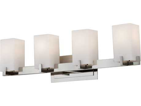Feiss Riva Polished Nickel Four-Light 30'' Wide Vanity Light with Opal Etched Glass Shade