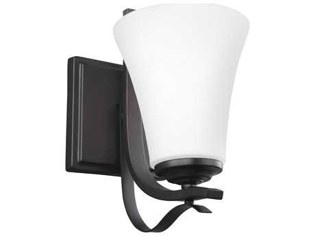 Feiss Summerdale Oil Rubbed Bronze 5.5'' Wide Vanity Light with White Opal Etched Glass Shade