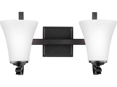 Feiss Summerdale Oil Rubbed Bronze Two-Light 17'' Wide Vanity Light with White Opal Etched Glass Shade