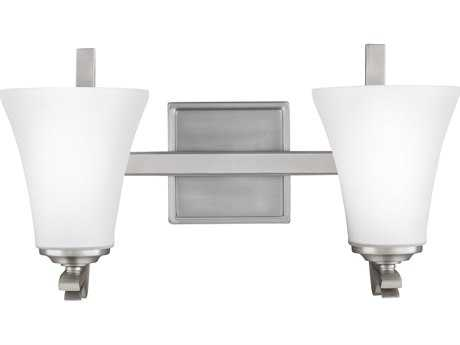 Feiss Summerdale Satin Nickel Two-Light 17'' Wide Vanity Light with White Opal Etched Glass Shade