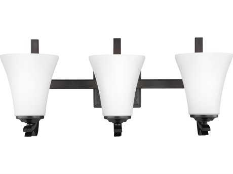 Feiss Summerdale Oil Rubbed Bronze Three-Light 22'' Wide Vanity Light with White Opal Etched Glass Shade