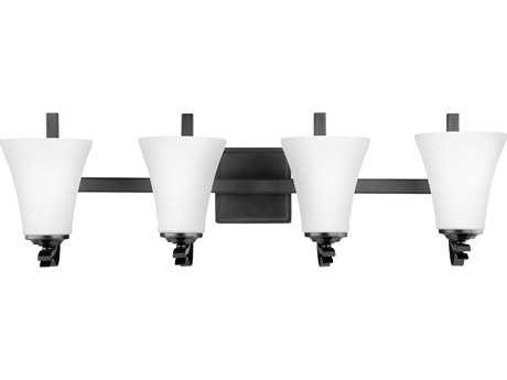 Feiss Summerdale Oil Rubbed Bronze Four-Light 31'' Wide Vanity Light with White Opal Etched Glass Shade