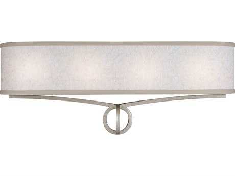 Feiss Parchment Park Dark Silver Four-Light 24'' Wide Vanity Light with Glass Diffuser Shade