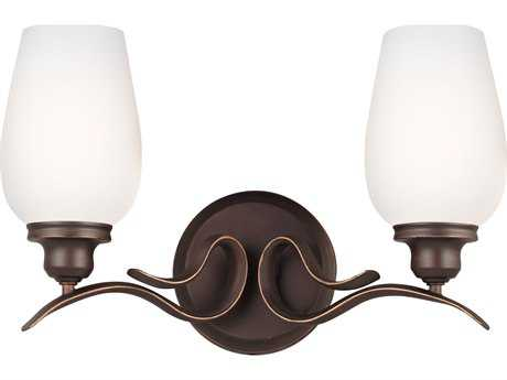 Feiss Standish Oil Rubbed Bronze with Highlights Two-Light 15'' Wide Vanity Light with White Opal Etched Glass Shade