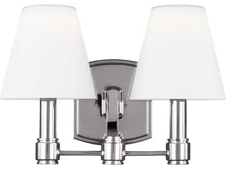 Feiss Leddington Polished Nickel Two-Light 13.25'' Wide Vanity Light with Opal Etched Case Glass Shade