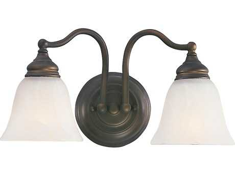 Feiss Bristol Oil Rubbed Bronze Two-Light 14.5'' Wide Vanity Light with White Alabaster Glass Shade