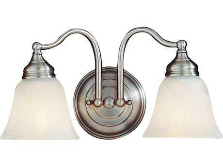 Feiss Bristol Pewter Two-Light 14.5'' Wide Vanity Light with White Alabaster Glass Shade