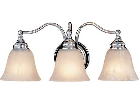 Feiss Bristol Chrome Three-Light 18'' Wide Vanity Light with White Alabaster Glass Shade