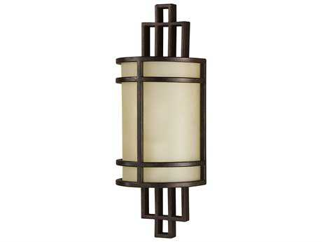 Feiss Fusion Grecian Bronze 5.75'' Wide Wall Sconce with Amber Ribbed Glass Shade