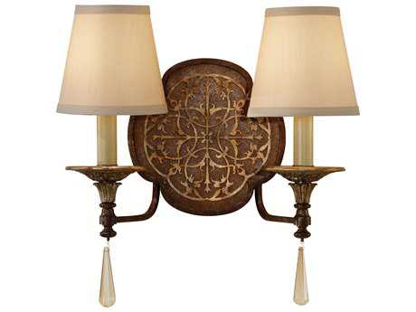 Feiss Marcella British Bronze / Oxidized Bronze Two-Light 15.38'' Wide Wall Sconce with Beige Hardback with Fabric Shade