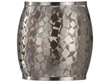 Feiss Zara Brushed Steel 8'' Wide Wall Sconce with Silver Organza Fabric Shade
