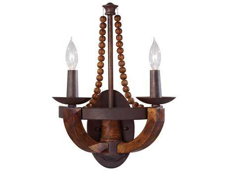 Feiss Adan Rustic Iron / Burnished Wood Two-Light 12.06'' Wide Wall Sconce