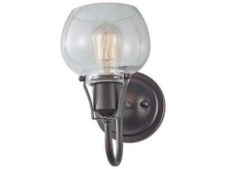 Feiss Urban Renewal Rustic Iron 6'' Wide Wall Sconce with Clear Seeded Glass Shade