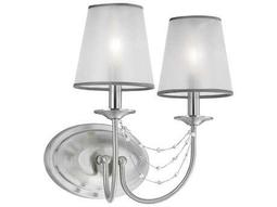 Feiss Aveline Brushed Steel Two-Light 13.25'' Wide Wall Sconce with Organza Hardback with Fabric Shade
