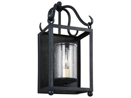 Feiss Declaration Antique Forged Iron 6.38'' Wide Vanity Light with Clear Seeded Glass Shade