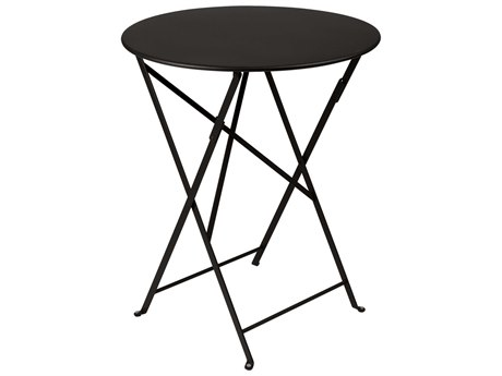 Fermob Bistro Liquorice 24'' Wide Steel Round Dining Table PatioLiving