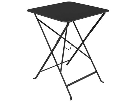 Fermob Bistro Liquorice 22'' Wide Steel Square Dining Table PatioLiving