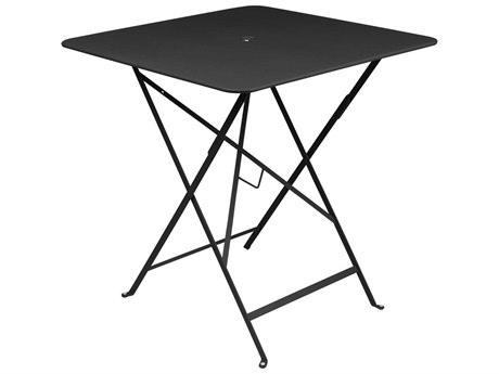 Fermob Bistro Liquorice 28'' Wide Steel Square Dining Table PatioLiving