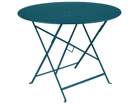 Fermob Bistro 38'' Wide Steel Round Umbrella Hole Table