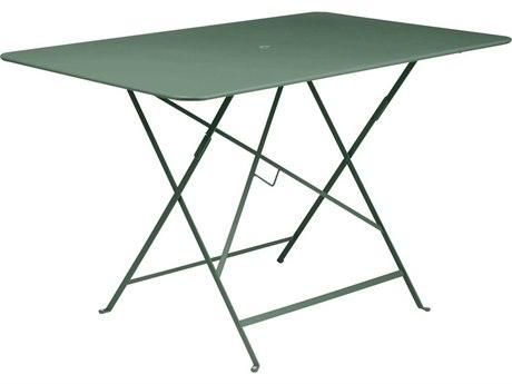 Fermob Bistro 46'' Wide Steel Rectangular Umbrella Hole Table PatioLiving