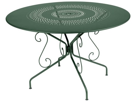 Fermob Montmartre 46'' Wide Steel Round Umbrella Hole Bistro Table