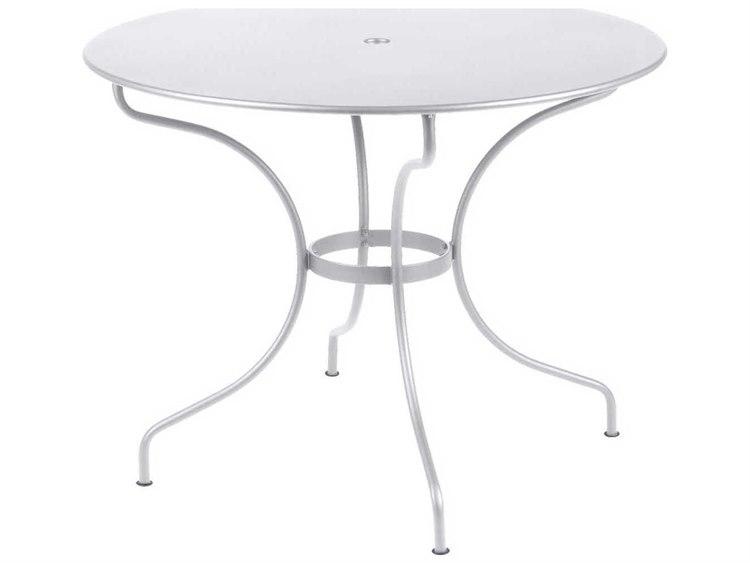 Fermob Opera 38'' Wide Steel Round Umbrella Hole Bistro Table PatioLiving