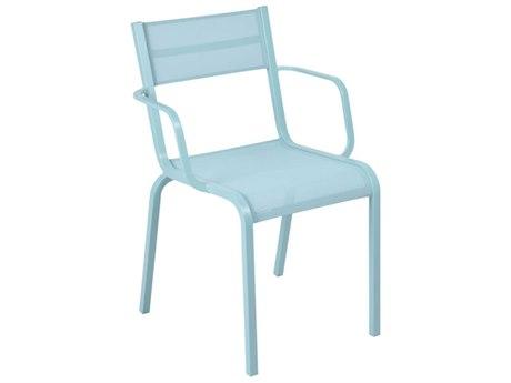 Fermob Oleron Lagoon Blue Aluminum Sling Dining Chair