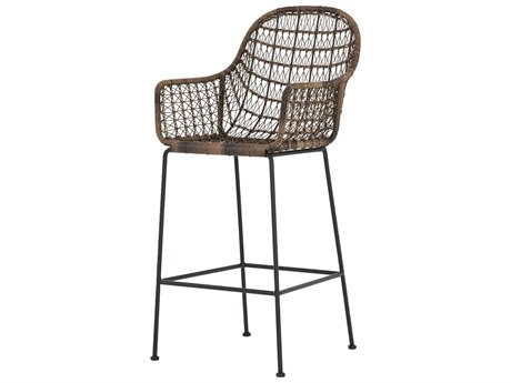 Four Hands Outdoor Grass Roots Natural Black / Distressed Grey Wrought Iron Wicker Bar Stool