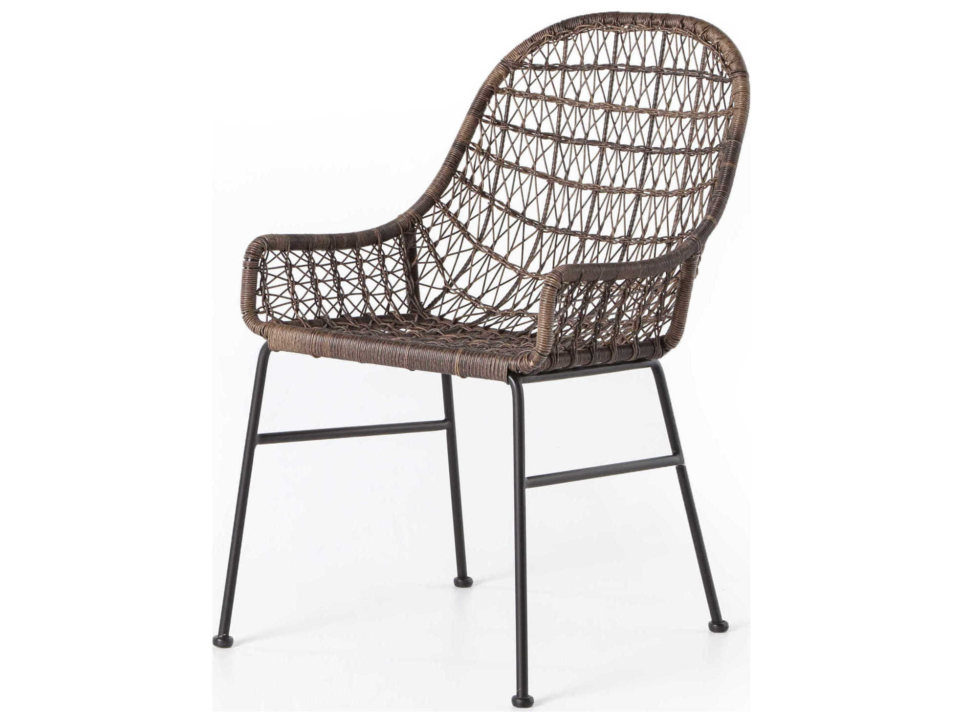 Four Hands Outdoor Grass Roots Natural Black Distressed Grey Wrought Iron Wicker Dining Chair Fhojlan130