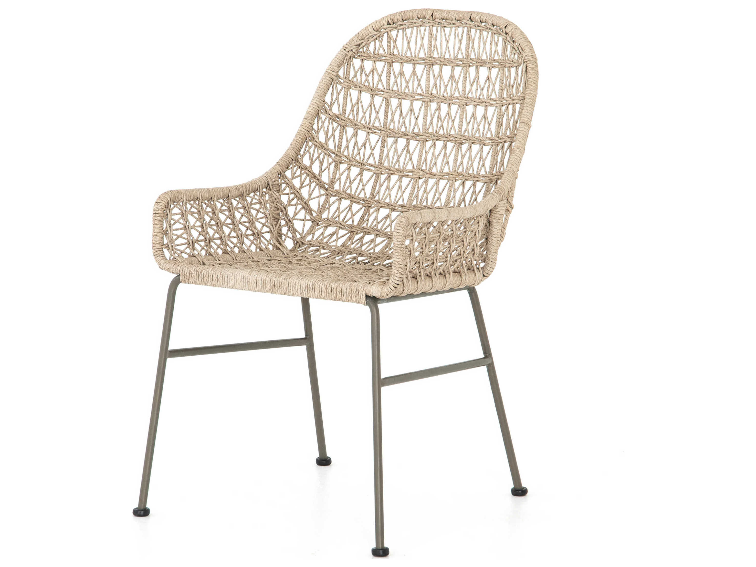 Four Hands Outdoor Grass Roots Vintage White Grey Bronze Wrought Iron Wicker Dining Chair Fhojlan131a