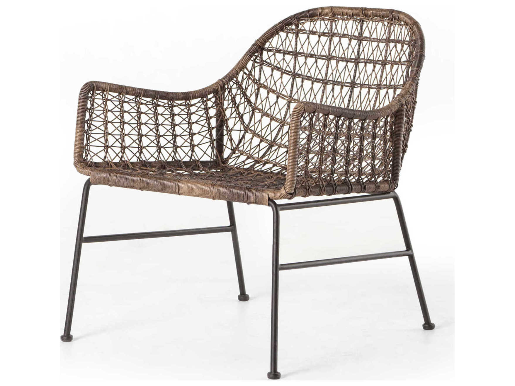 Four Hands Outdoor Grass Roots Natural Black Distressed Grey Wrought Iron Wicker Lounge Chair Fhojlan138