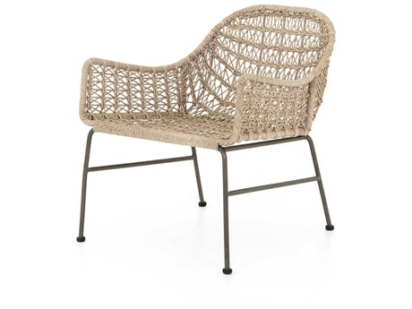 Four Hands Outdoor Grass Roots Bronze / Vintage White Wrought Iron Wicker Lounge Chair
